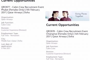 Cabin Crew Recruitment Event Bangkok (Females Only) Qatar Airways