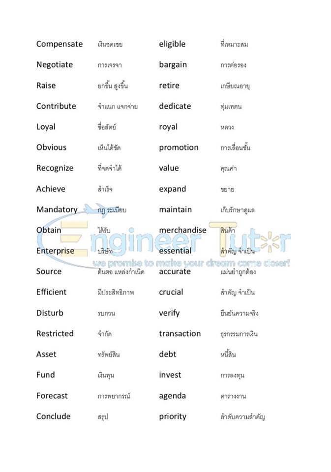 คำศัพท์ภาษาอังกฤษ ติวสอบโรงเรียนการไปรษณีย์