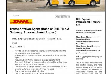 Transportation Agent (Base at DHL Hub & Gateway Suvarnabhumi Airport)