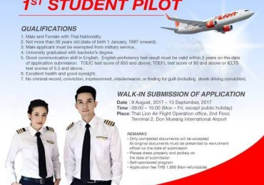 Student Pilot Thai Lion Air Recruitment 2017