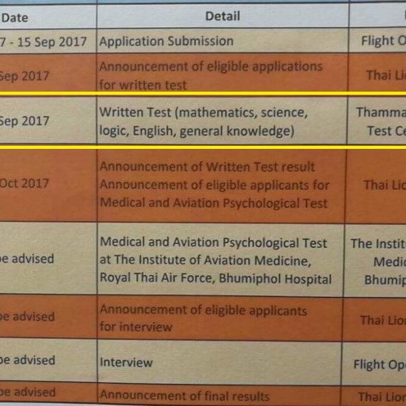 กำหนดการสอบ Student Pilot Thai Lion Air 2017 Written Test 23-Sep-2017