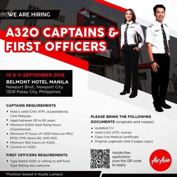 Air Asia เปิดรับสมัคร Captain & First Officer Type Rated A320 เส้นทางบิน AK มาเลเซีย