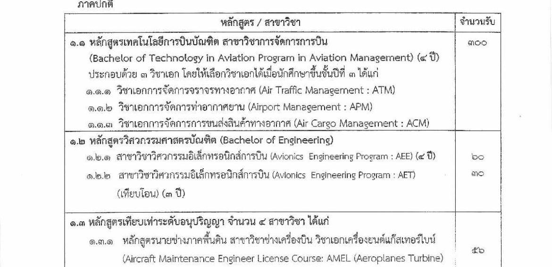 ระเบียบการรับสมัครสอบสถาบันการบินพลเรือน 2563