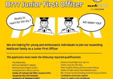 B777 Junior First Officer – QP Nok Scoot 2019