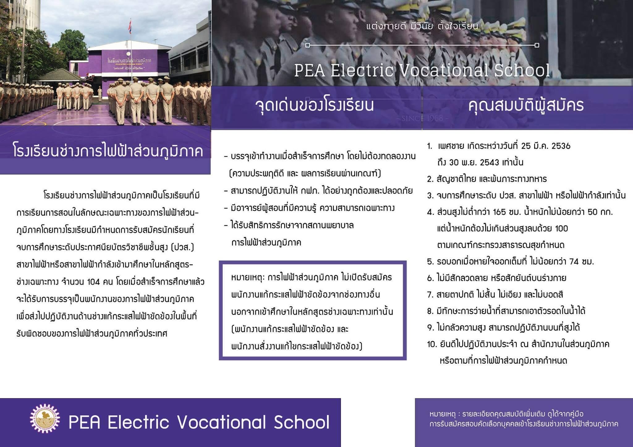 ติวสอบโรงเรียนช่างการไฟฟ้าส่วนภูมิภาค 2562