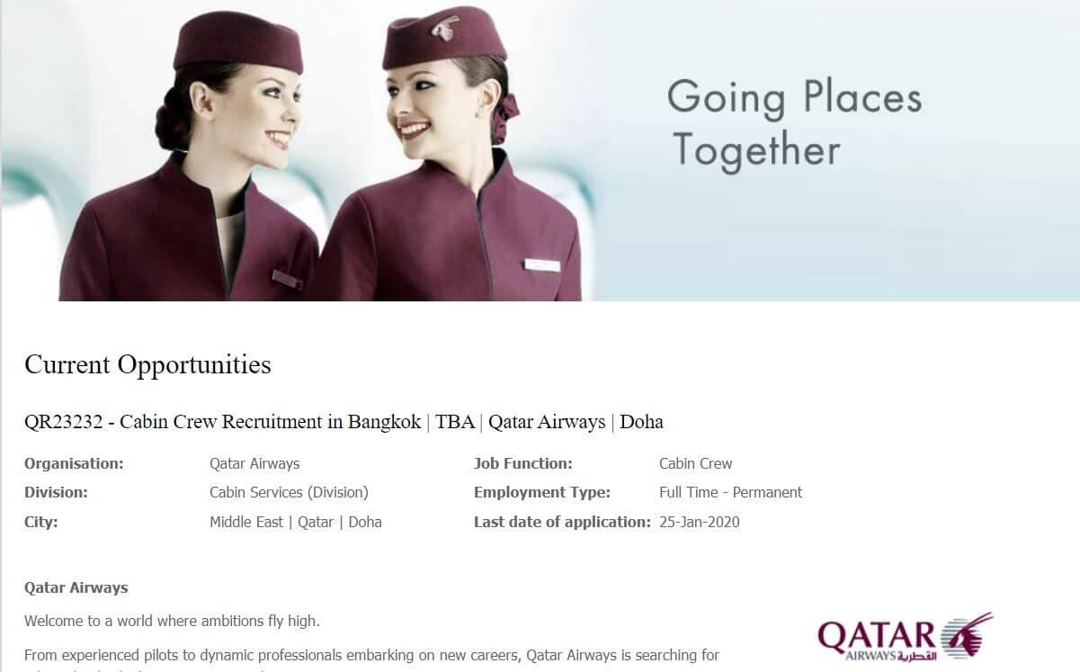 Cabin Crew Qatar Recruitment 2020