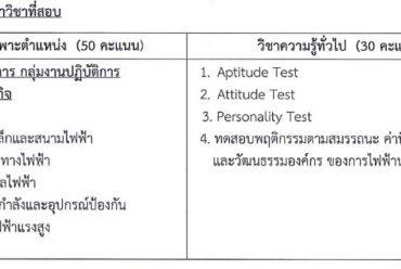 ขอบเขตเนื้อหาวิชาที่สอบ ตำแหน่งวิศวกรไฟฟ้า 4 การไฟฟ้านครหลวง (กฟน) 2562