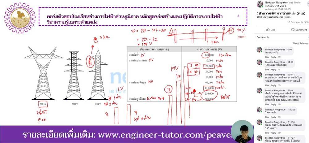 คอร์สติวสอบบรรจุการไฟฟ้าส่วนภูมิภาค หลักสูตรเฉพาะทาง ก่อสร้างและปฎิบัติการระบบไฟฟ้า 2564