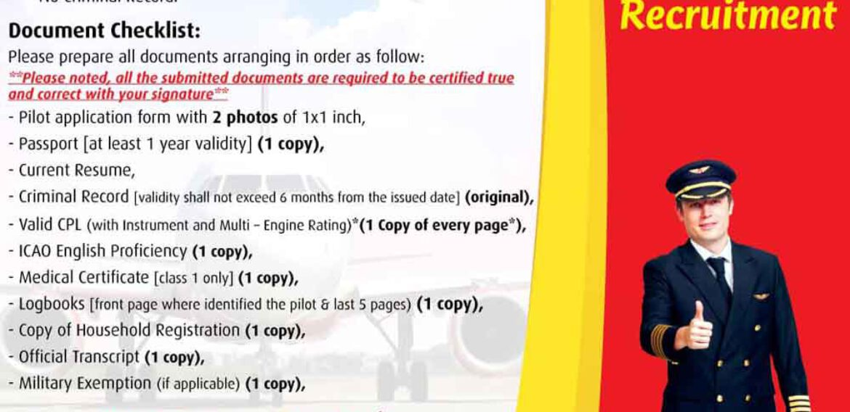 Thai Vietjet Qualified Pilot Requirement 2564